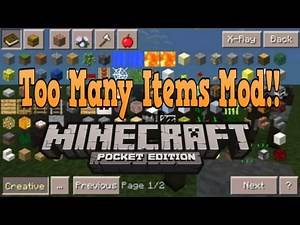 Minecraft Pe - Too Many Items Mod!! - BEST TOO MANY ITEMS MOD EVER!- New MCPE Mod for 0.15.2