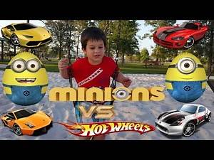 Alec's Garage - Hotwheels and Easter MINION EGGS Racing down the slide