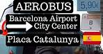 Taking AEROBUS from Barcelona Airport to City Center Placa Catalunya