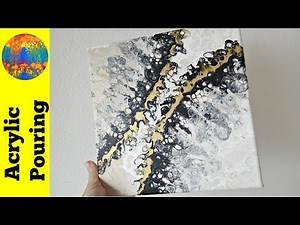 Black, white and gold collaboration YT challenge (DebyAtAcrylicPouring)