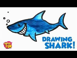 Drawing Cartoon Shark | How to draw and color - easy drawing for Kids | Super Fun ☆