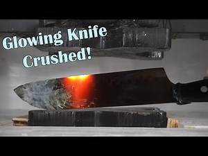 Crushing A 1000 Degree Glowing Knife In A Hydraulic Press Experiment...Or Maybe Its 700 Degrees