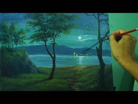 Landscape Painting Tutorial on How to Paint Moonlight Over the Sea using Acrylic