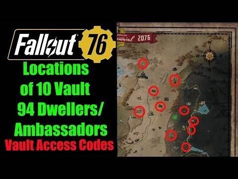 Fallout 76 Vault 94 Ambassadors / Dwellers Locations, Vault Access Codes
