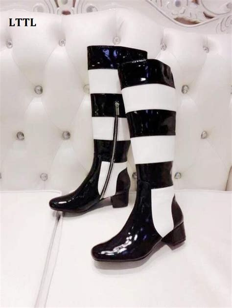 Black White Knee Boots