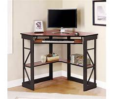 Corner computer desks with keyboard tray Video