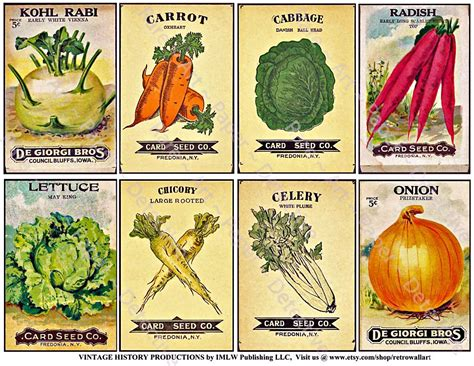 Garden Vegetable Seed Packet Signs