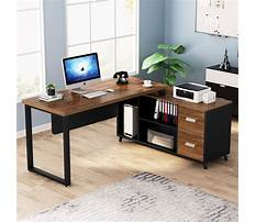 L shaped computer desk with drawers Video