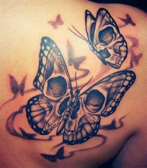 Skull Butterfly Tattoo For Girls