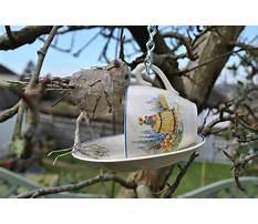 Tea cup bird feeders handmade Video