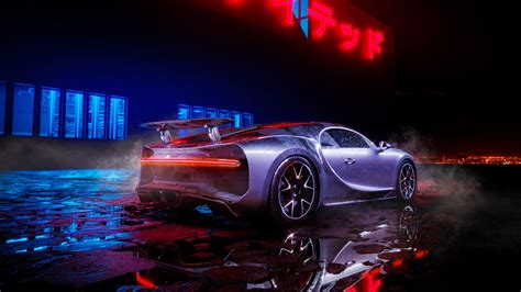 bugatti chiron neon lights wallpapers hd wallpapers id